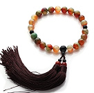 Newly Fashion Single Strand Round Peacock Agate and Black Agate Holding Prayer Beads with Brown Tassel