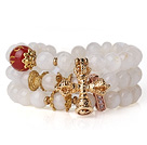 Amazing Hot Three Strands Round Moonstone Bracelet with Carnelian and Amulet Accessory under $ 40