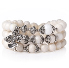 Amazing Hot Three Strands Round White Sea Shell Bracelet with Amulet Accessory