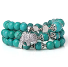 Amazing Hot Three Strands Round Green Turquoise Beads Bracelet with Lucky Elephant Accessory under $ 40