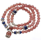 Pretty Three Strands Round Strawberry Crystal Bracelet with Lapis Beads and Tibet Silver Accessory