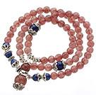 Temmelig Tre Strands Round Strawberry Krystal Armbånd med Lapis perler og Tibet sølv tilbehør
