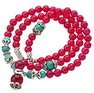 Pretty Three Strands A Grade Round Rose Red Agate Beads Bracelet with Turquoise Beads