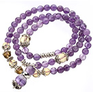 Pretty Three Strands Round Amethyst Beads Bracelet with Citrine Beads under $ 40