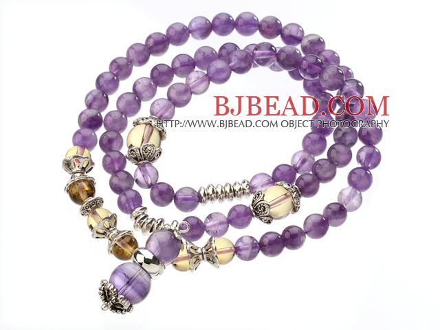 Pretty Three Strands Round Amethyst Beads Bracelet with Citrine Beads