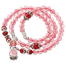 Pretty Three Strands Cherry Quartz Beads Bracelet with Carnelian and Tibet Silver Accessory