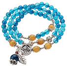 Pretty Three Strands Round Blue Agate Beads Bracelet with Yellow Jade and Tibet Silver Accessory under $ 40