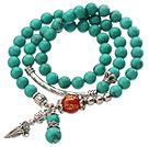 Pretty Three Strands Round Green Turquoise Beads Bracelet with Carnelian and Amulet Accessory under $ 40