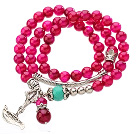 Pretty Three Strands Round Rose Color Aagte Beads Bracelet with Turquoise and Amulet Accessory