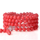 Fashion 108 Rond 6mm Red Coral Beads Multilayer Gebed Bangle Armband