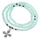 Classic Design Multi Strands Round Light Blue Jade Beads Amulet Bracelet With Metal Cross Charm