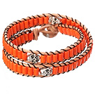 Popular Style Double Strands Orange Color Cylinder Shape Turquoise Brown Leather Woven Wrap Bangle Bracelet under $ 40