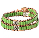 Popular Style Double Strands Green Color Cylinder Shape Turquoise Brown Leather Woven Wrap Bangle Bracelet With Metal Skull Head under $ 40