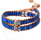 Popular Style Double Strands Cylinder Shape Deep Blue Turquoise Brown Leather Woven Wrap Bangle Bracelet With Metal Skull Head