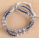 Trendy Style Popular Double Strands Round Natural Lapis And Howlite Beads White Leather Woven Wrap Bangle Bracelet With Metal Accessory