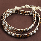 Trendy Style Popular Double Strands Round Tiger Eye And Howlite Beads White Leather Woven Wrap Bangle Bracelet With Metal Accessory
