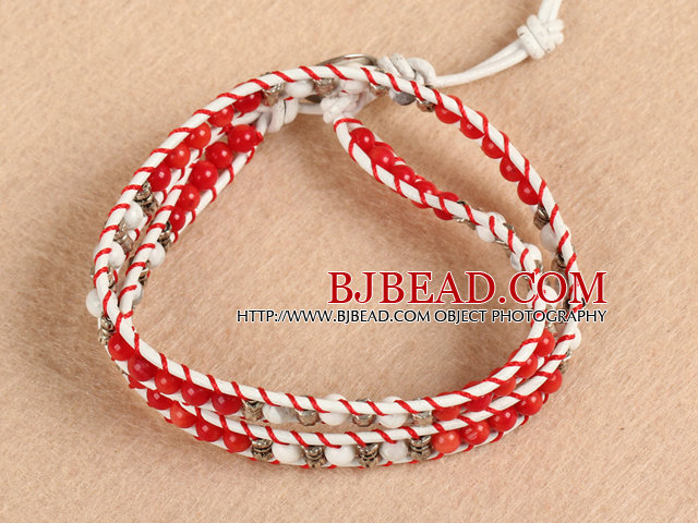 Trendy Style Popular Double Strands Round Red Coral And Howlite Beads White Leather Woven Wrap Bangle Bracelet With Metal Accessory