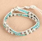 Trendy Style Popular Double Strands Round Blue Turquoise And Howlite Beads White Leather Woven Wrap Bangle Bracelet With Metal Accessory