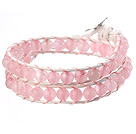 Beautiful Double Strands 6mm Round Pink Jade Beads White Leather Woven Wrap Bangle Bracelet
