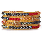 Amazing Fashion Multi Strands Red Crystal Woven Wrap Bangle Bracelet With Brown Wax Thread