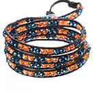 Increíble Moda Multitiendas Strands Naranja Crystal And Leather Deep Blue Crystal Beads Negro Tejido Wrap pulsera del brazalete