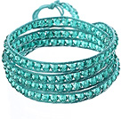 Amazing Fashion Multi Strands Lake Blue Crystal Beads Woven Wrap Bangle Bracelet With Lake Blue Wax Thread