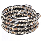 Amazing Fashion Multi Strands Crystal And Alloyed Beads Woven Wrap Bangle Bracelet With Black Wax Thread