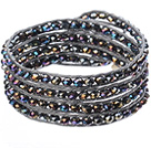 Amazing Fashion Multi Strands Black With Colorful Crystal Beads Woven Wrap Bangle Bracelet With Gray Wax Thread under $ 40