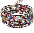 Amazing Fashion Multi Strands Multi Color Crystal Beads Woven Wrap Bangle Bracelet With Brown Wax Thread