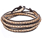 Amazing Fashion Multi Strands Indipink Crystal Beads Brown Leather Woven Wrap Bangle Bracelet