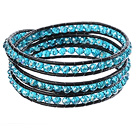 Amazing Fashion Multi Strands Blue Crystal Beads Black Leather Woven Wrap Bangle Bracelet With Metal Clasp