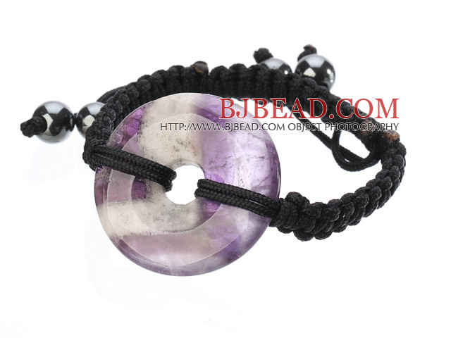 Trendy Style Big Donut Shape Multi Color Amethyst Black Thread Woven Adjustable Drawstring Bracelet