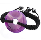 Trendy Style Big Donut Shape Purple Agate Black Thread Woven Adjustable Drawstring Bracelet