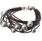 Simple Fashion Style Multi Strands 10-11mm Natural Gray Freshwater Pearl Chocolate Color Leather Bracelet With Magnetic Clasp