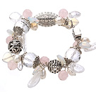 Vintage Style Clear Crystal Rose Quartz Opal Pearl And Tibet Silver Accessory Bracelet With Toggle Clasp under $ 40