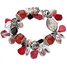 Vintage Style Heart Shape Clear Crystal Red Agaat Button Pearl Red Coral En Tibet Zilver Accessory Armband Met Toggle sluiting