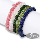 Summer Design 5 pcs A Grade Multi Color Semi-precious Stone Stretchy Bracelets