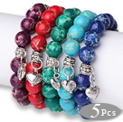 Amazing 5 pcs Round Multi Color Imperial Jasper Beads Elastic Bracelets with Thai Silver Heart Accessory