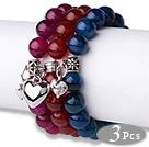 3 szt. Piękne okrągłe Multi Color Agat Bransoletki z paciorkami elastyczne Thai Silver Charm menos de 10 euros