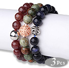 Cool Style 3 pcs Round Strawberry Quartz Green Opal and Blue Sandstone Beaded Stretchy Bracelet with Charm