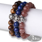 Cool Style 3 pcs Round Tiger Eye Lapis and Strawberry Quartz Beaded Stretchy Bracelet with Heart Charm