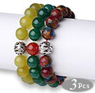 Vintage Style 3 pcs Round South Korean Jade Green Agate and Glaze Beads Bracelet with Thai Silver Charm