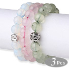 3 pcs Lovely Round Opal Rose Quartz and Prehnite Beaded Stretchy Bracelet with Accessory