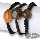 3 pcs Simple Style Irregular Shape Agate with Hand-knitted Leather Bracelets