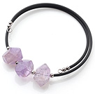 New Arrival Simple Style Irregualr Shape Amethyst with Elastic Leather Bracelet