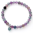High Quality Single Strand 6mm A Grade Round Rainbow Fluorite Beaded Stretchy Bracelet with Charm