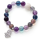 High Quality 10mm A Grade Round Rainbow Fluorite Beaded Stretchy Bracelet with White Sea Shell and Charm