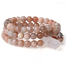 New Arrival Multi Strands Round Sunstone Beaded Elastic Bracelet with Clear Crystal and Charm under $ 40