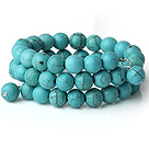 New Arrival Multi Strands Round Blue Turquoise Beaded Elastic Bracelet