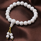 8mm Single Strand Carved Lotus White Sea Shell Beaded Elastic Bracelet with Rosary/ Prayer Beads